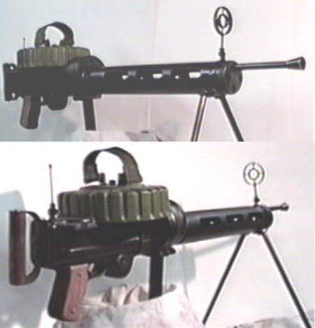 Two views of the finished Lewis machine gun