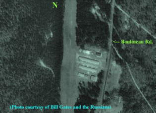 Close-up from space of the Pea Patch Aerodrome