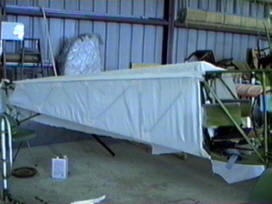 Fabric laid on fuselage