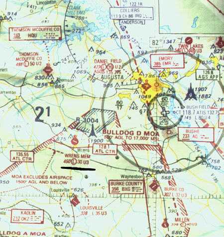 Sectional Chart Of The Wrens Georgia Airport
