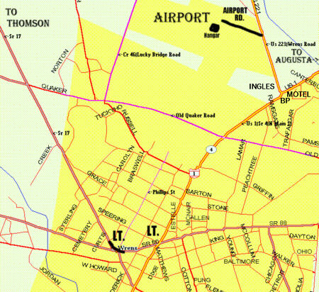 Map of the Wrens, GA, area showing the airport